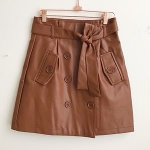 Forever21 cognac brown faux leather skirt size s